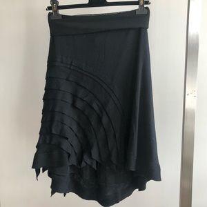 MARIE SAINT PIERRE Black Wool Jersey Ruffle Skirt